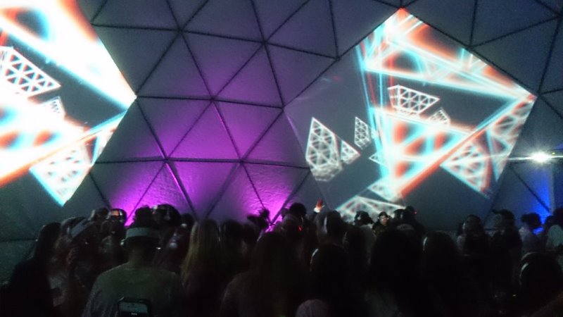 Silent 3D Disco video domes installed for City of old Coast Glow 2015