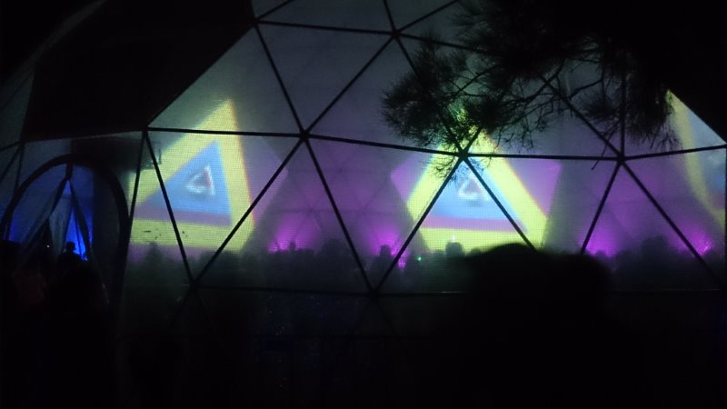 translucent panels allow view inside 3d disco glow dome