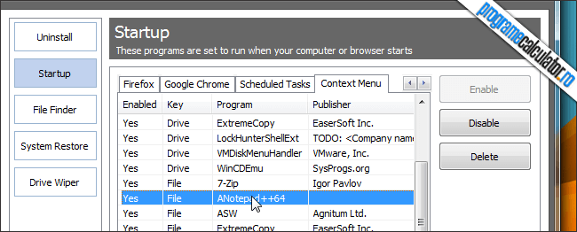 Curatarea meniului contextual cu CCleaner