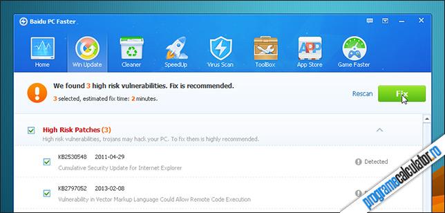 Instalare actualizari cu Baidu PC Faster