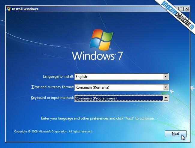 Manual de instalare Windows 7 - Limbă și aranjament tastatura