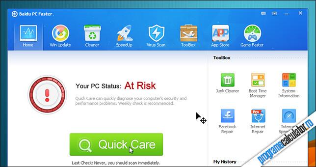 Scanare PC cu Baidu PC Faster