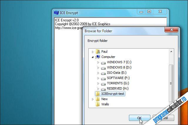 selectare folder pentru protejare cu parola