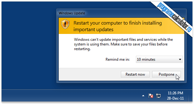 restart your computer to finish-installing important updates