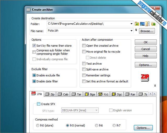 program de arhivare si dezarhivare