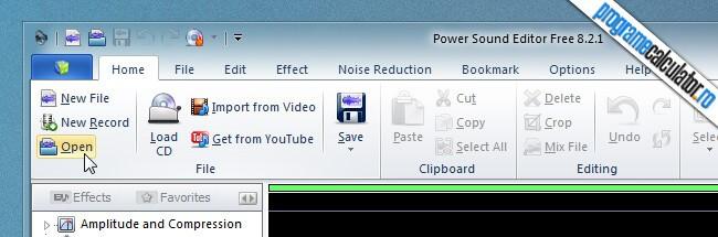 program de taiat melodii - Power Sound Editor - Open