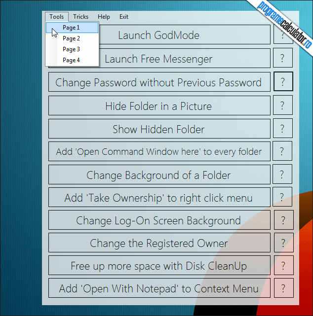 1-Windows Tricker-interfata-pagina1