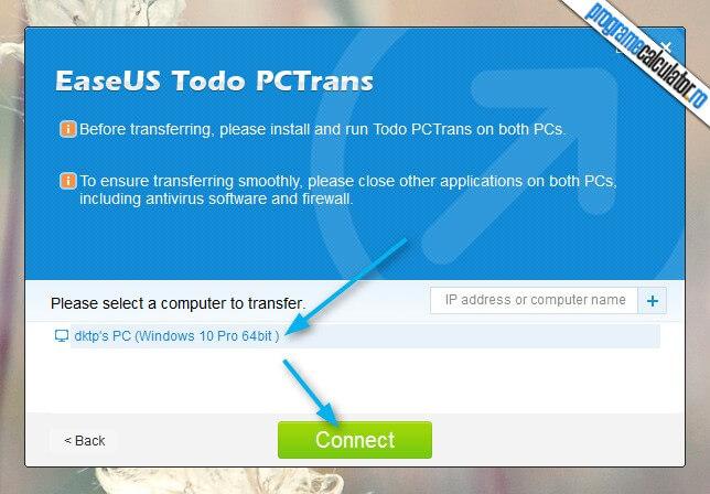 conectare PCtrans la celalalt PC