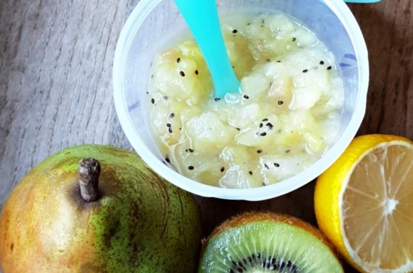 Compote de poire, kiwi et citron au Pied Mixeur dès 4-6 mois