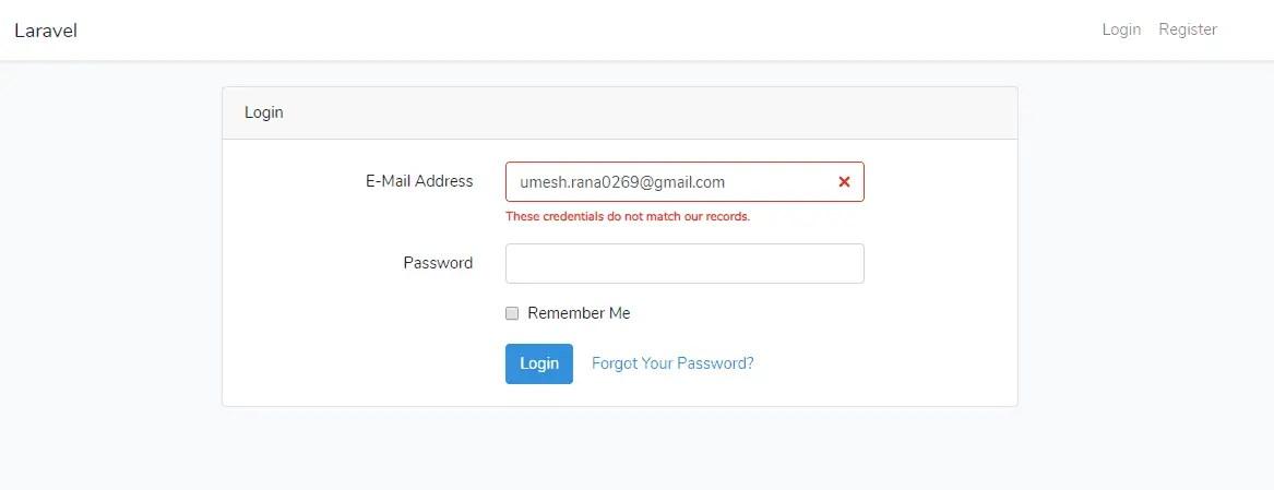 Laravel 6 Login Credential Error
