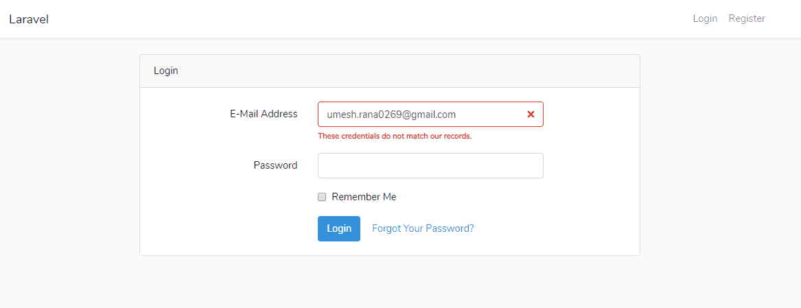 Laravel 6 Login Credential Error