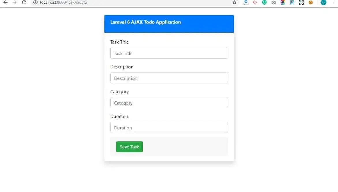 Create Task View AJAX in Laravel 6