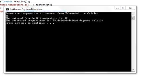 C# program to convert farenheit to celsius
