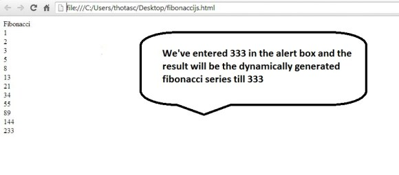 fibonacci series output in javascript