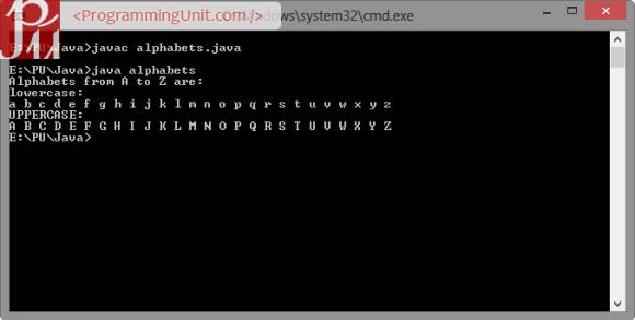 Java Program to Print Alphabets