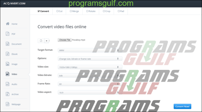 موقع Aconvert Convert video files online