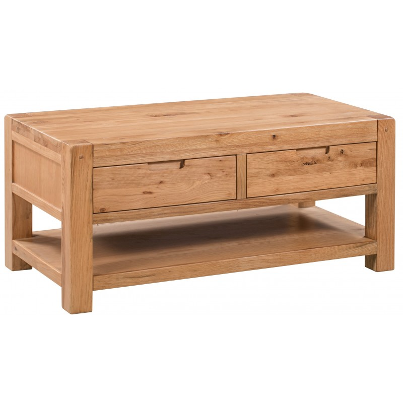loxley rustic oak coffee table with 2 drawers