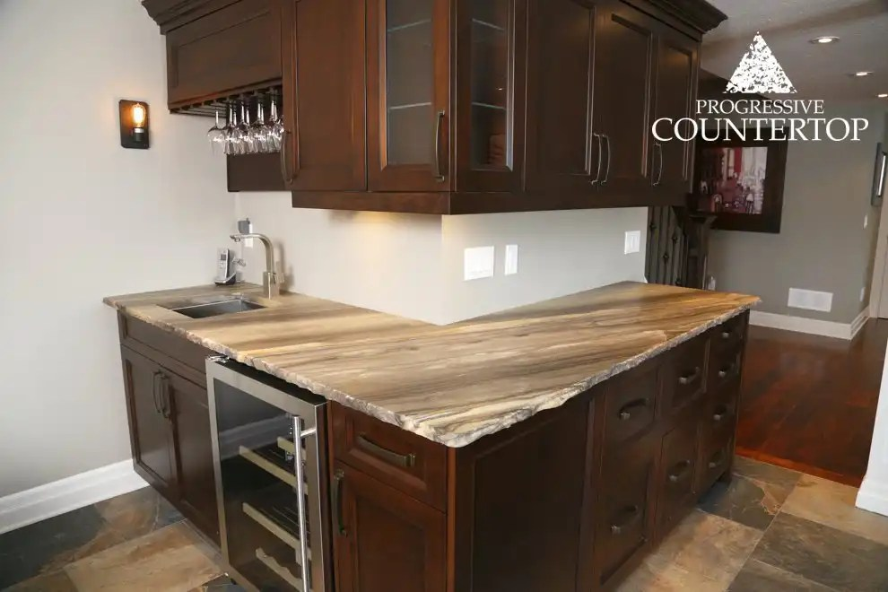 Sequoia Brown Leather Granite Bar With A Chiseled Edge. Granite Countertops  ...