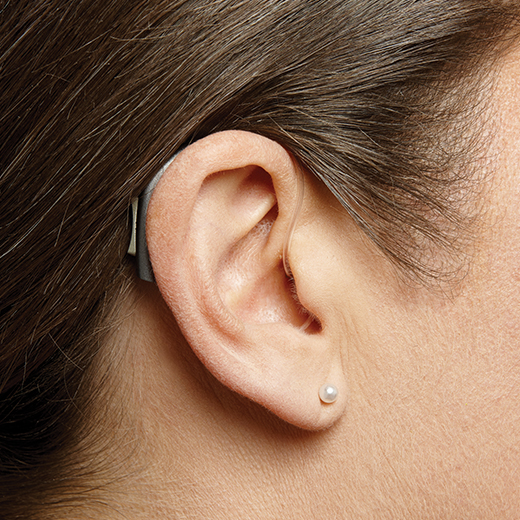 Behind the ear hearing aid on ear