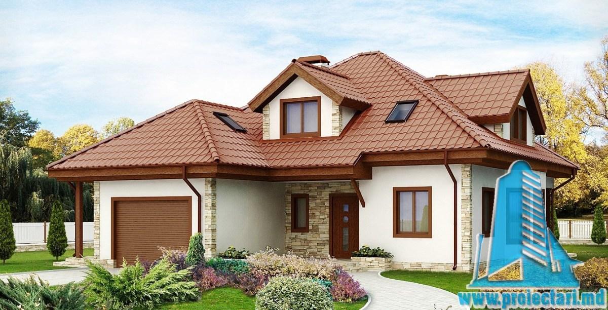 Proiect de casa cu mansarda si garaj 161