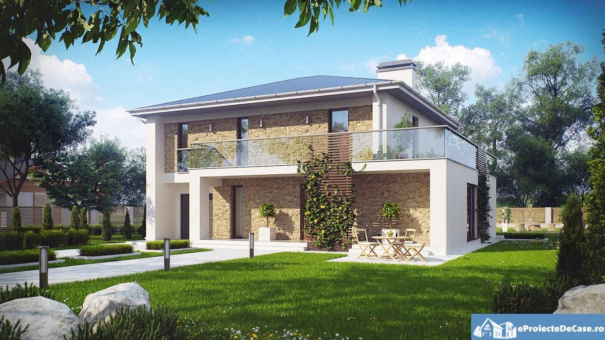 Proiect de casa cu parte, etaje si garaj pentru un automobil - 10014