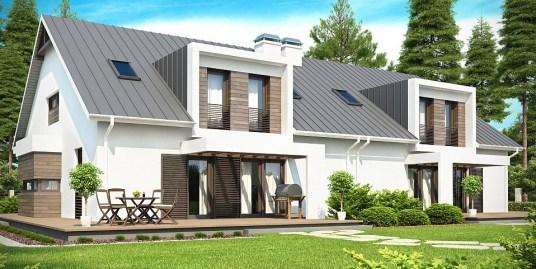 Proiect de casa Duplex cu mansarda si cu garaj
