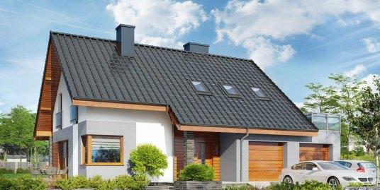 Proiect de casa cu mansarda terasa de vara si garaj pentru doua masini