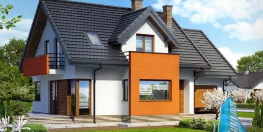 Proiect de casa cu parter, mansarda si garaj pentru un automobil – 100573