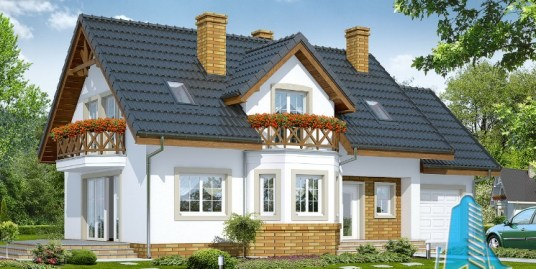 Proiect de casa cu parter, mansarda si garaj pentru un automobil – 100575