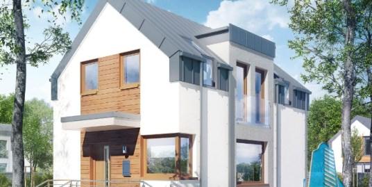 Proiect de casa cu pivnita, parter, etaj, garaj pentru un automobil si terasa – 100576