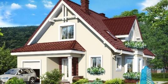 Proiect de casa cu parter, mansarda si garaj pentru un automobil-100589