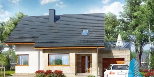 Proiect de casa cu parter mansarda si garaj pentru un automobil-100592