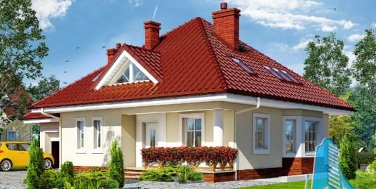 Proiect de casa cu parter, mansarda si garaj pentru un automobil-100611