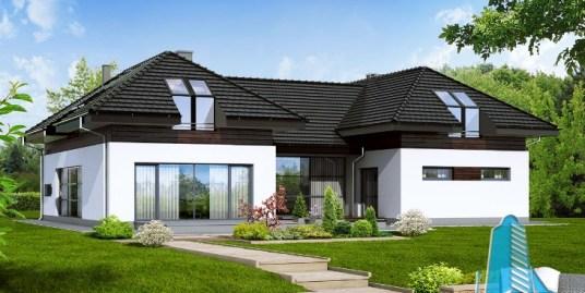 Proiectul de Casa de locuit cu parter, mansarda si garaj pentru doua automobile – 100652