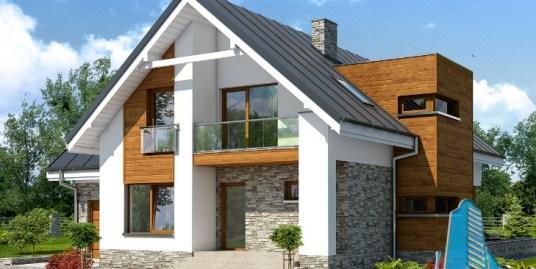 Proiect de casa cu parter, mansarda si garaj pentru un automobil-100660