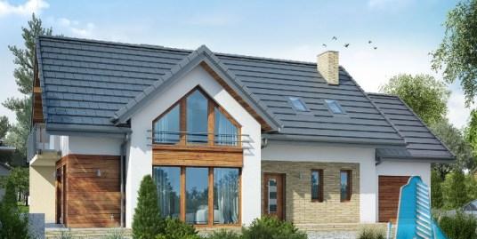 Proiect de casa cu parter, mansarda si garaj pentru un automobil-100626