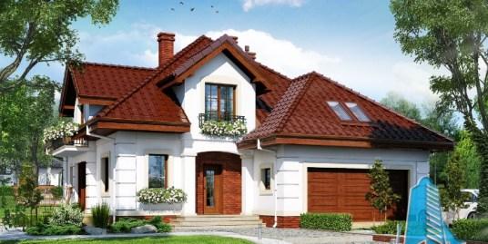Proiect de casa cu parter, mansarda si garaj pentru doua automobile-100627