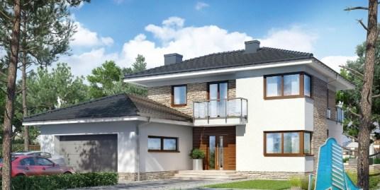 Proiectul de Casa de locuit cu etaj si garaj pentru doua automobile-100674