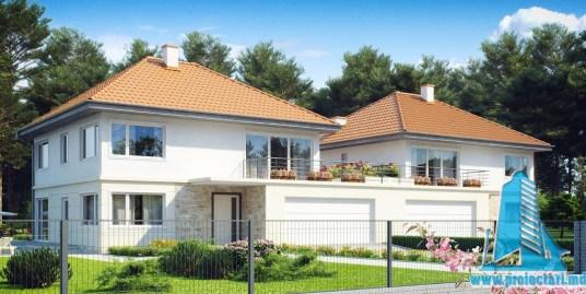Proiect de casa duplex cu parter, etaj si garaj pentru doua automobile-100890