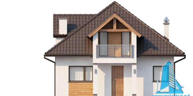 Proiect de casa cu parter, mansarda fatada3