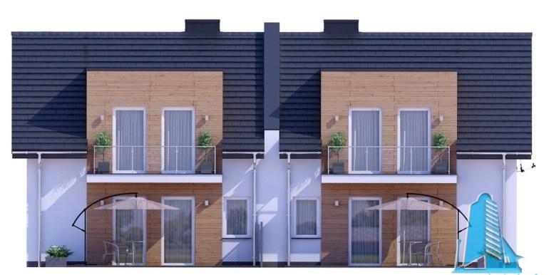 proiect de casa duplex cu parter mansarda si garaj pentru doua automobile cu terasa