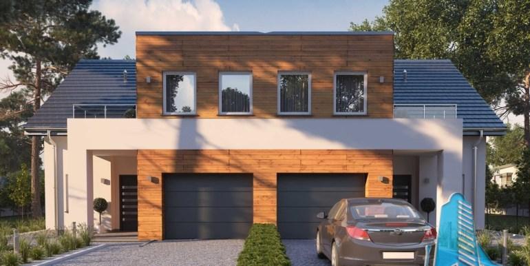 proiect de casa duplex cu parter mansarda si garaj pentru doua automobile