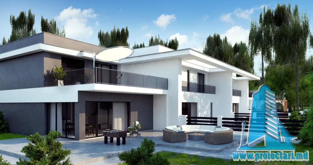 Proiect de casa de tip duplex cu doua etaje, garaj pentru doua automobile, terasa de vara la sol si pe acoperis - 100957