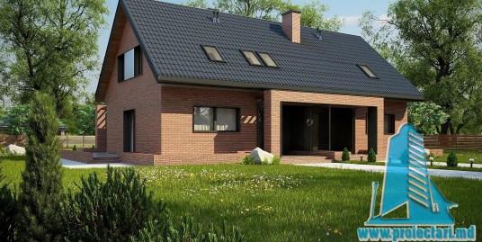 Proiect de casa din caramida cu parter, mansarda si terasa de vara – 100955