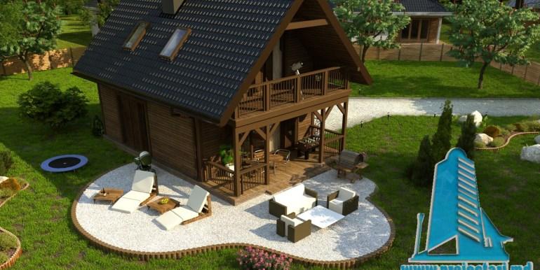 casa de lemn dupa tehnologie canadiana cu parter si mansarda cu gradina verde amenajata