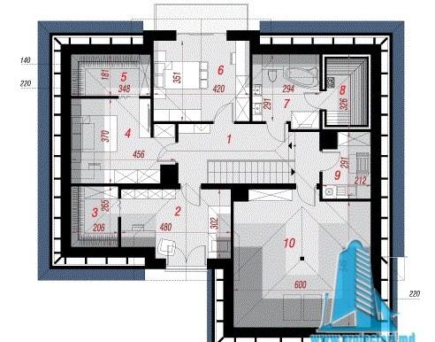 план мансард проект жилого дома с мансардой и гаражом для 2 автомобиля