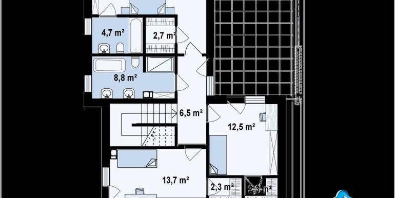plan etaj proiect de casa cu acoperis plat cu doua etaje