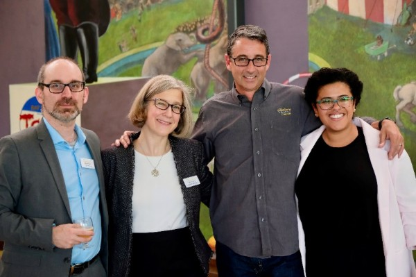 Pictured above, from left: Tom Strong, Anne Claire Broughton and Patrick Carpenter from the Great Game of Business with Patty Viáfara from Project Equity.