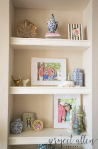 How To Style Built-Ins, Decorating Bulit-ins, Styling Shelves, How To Decorate Shelves, Gold and Navy Decor, Ginger Jars,