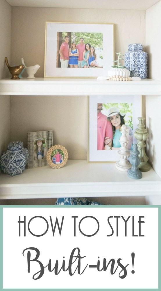 How To Style Built-Ins, Decorating Bulit-ins, Styling Shelves, How To Decorate Shelves, Shelf Decorating, Gold and Navy Decor, Ginger Jars,